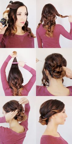 Low Bun for Medium / Long Hair -- this is nice that they curl the hair first to give it volume and shape! <3 #hairtutorial #diy #gorgeoushair #casualhair #upstyle #updo #weddinghair #hairstyles #hairstyle #easy #beautifulhairstyle #sexyhair #weddinghair #hairinspiration #hair #hairsalon #besthairsalon #indianapolis www.gmichaelsalon.com #hairtutorial