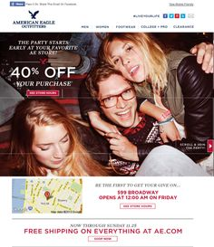 American Eagle Outfitters Black Friday email showing recipients their closest brick-and-mortar locations #emailmarketing #geotargeting #blackfriday