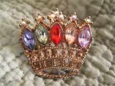 Vintage Jesus Rhinestone Crown Brooch by mimiyaya on Etsy, $14.00