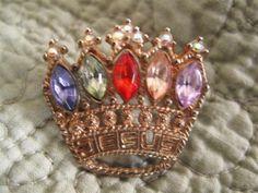 Vintage Jesus Rhinestone Crown Brooch by mimiyaya on Etsy, $14.00