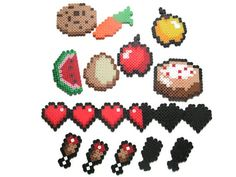 18 PC 8 Bit Pixel Cake Cookie Heart Food // video game magnet // video game party favor
