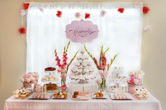 Pink and White Baptism & 1st Birthday Party - the party inspiration came from a white doily! #desserttable #party