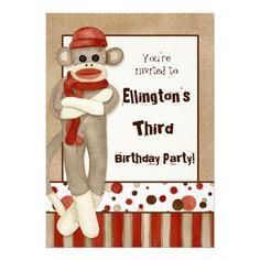 Sock Monkey, Birthday Party Invitation