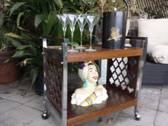 Vintage wood and chrome mid century  rolling bar cart