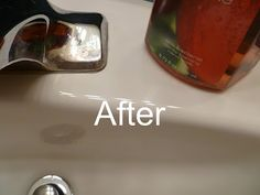 How to clean mineral deposits around faucets! Vinegar!