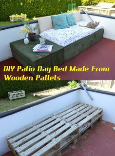 DIY Patio Day Bed Made From Wooden Pallets