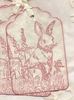Items similar to Easter Bunny Rabbit Gift Tags Favors Hang Tags Pink Vintage Shabby Chic Primitive on Etsy