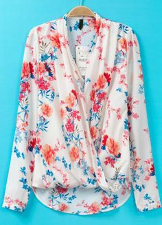 White V Neck Long Sleeve Floral Asymmetrical Blouse 17.33 // to wear with a yellow skirt and blue heels.