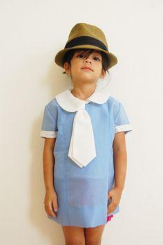 Vintage dress with necktie.