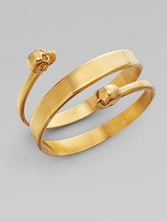Twin Cuff Bracelet by Alexander McQueen: Made of crystal and brass. #Jewelry #Bracelet #Alexander_McQueen