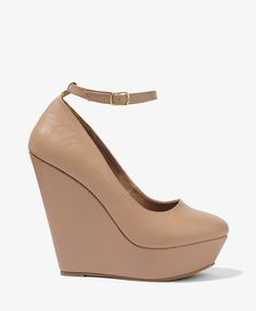 Nude  ankle strap wedges