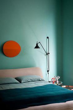 interior design, wall colors, endless summer, wall lamps, orang, color combos, blue bedrooms, wall colours, painted walls