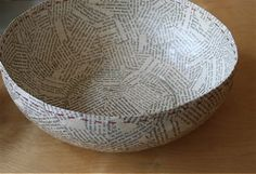 Newspaper covered bowl