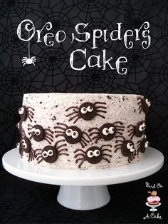Oreo Spiders Cake {Bird On A Cake} --- I made this cake and it was excellent. I had a hard time making the spiders as I am not very skilled at decorating cakes.