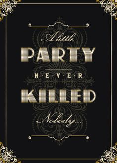1920's Theme Party Invitations in Silver Gold or by CMSStationery