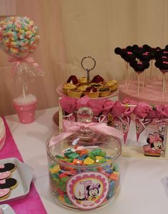 Minnie Mouse Birthday Party candy and treats! See more party planning ideas at CatchMyParty.com!