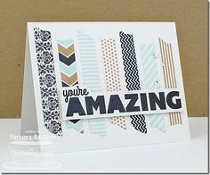 handmade card: WooHoo for Washi Tape–MFT ... My Favorite things releasing stamps with washi tap designs and dies to go with ... make your own colors and designs ... like this clean and simple card with strips of artificial washi .... cool colors and neutrals ... trendy huge sentiment word ...