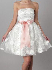 now in stock www.lebombshop.net  50s Style ROSETTE Strplss White/PINK FORMAL Party Dress