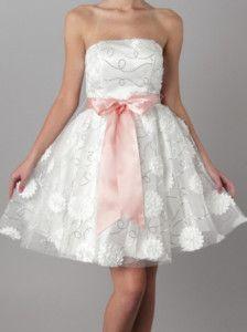 now in stock www.lebombshop.net  50s Style ROSETTE Strplss White/PINK FORMAL Party Dress
