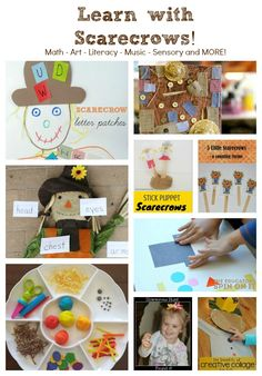 Make a Shape Scarecrow for Math and Fine Motor Learning: A FREE week of Preschool Lesson Plans with fall kids activity ideas for reading, math, music, movement, crafts and more.  #PLAYfulPreschool