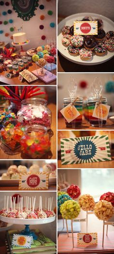 adorable DIY ideas for a kids party... like the fram with chalk number, balls hanging could do similiar with jelly bean shape... jello jars and number shape for month pictures