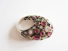 Ornate and Chunky Cocktail Ring   Silver Embedded by BakeliteArts, $125.00