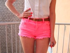 neon pink shorts!