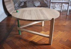 A Frame table by Tomas Alonso; folds flat in seconds