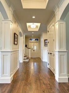 wall colors, trimwork, floor, column, paint colors, hous, hallway, trim work, painted ceilings