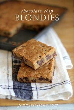 Chocolate Chip Blondies    http://jennysteffens.blogspot.com/2013/01/chocolate-chip-blonde-barefoot-contessa.html