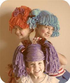crazy hair, diy costumes, yarn crafts, wig tutori, brown paper packages, diy tutorial, wigs, cabbage patch kids, halloween