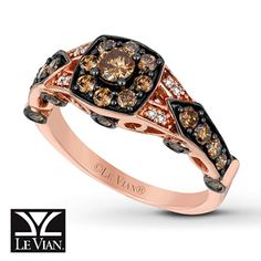 Chocolate Diamonds® Ring 1 ct tw Round-cut 14K Strawberry Gold®