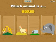 "Bible Games for Kids | The special animals in Noah's Ark for your kids to learn and have fun at the same time. ""Which animal is a horse""? Is it the fury looking one?  Download this game for FREE on the AppStore http://www.littlehalogames.com/#!/free-games/    Bible Games, Bible Games for Kids, Bible Game for Children #bible #games #kidmin #free"