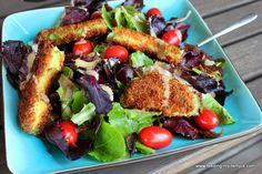 Crispy Avocado and Turkey Bacon Salad with Creamy Honey Balsamic Dressing