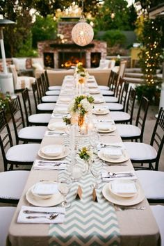 Love the long table and the table runner  could also put on round tables over white tablecloth