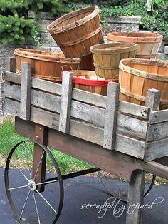 Reclaimed pallet wood harvest cart
