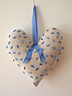 linen heart ornament ornament with beading by DaiseyJayne on Etsy, $15.00