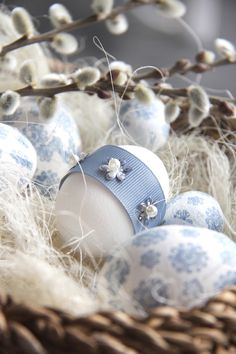 Easter Egg Decorating with ribbon. Love the idea!