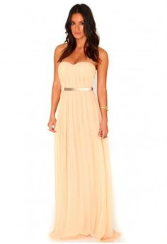 Missguided - Abelone Bandeau Pleated Maxi Dress In Peach