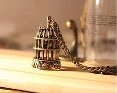 Vintage Antique Bronze Stereo Birdcage Chain Pendant Necklace