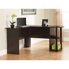 L-Shaped Desk with Side Storage, Russet Cherry