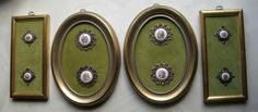 ButtonArtMuseum.com - 8 Antique Victorian Handpainted Courting Couples Brass Filagree Buttons Framed - From the Salem Colle