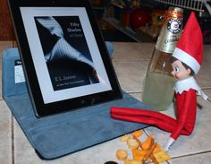 OKAY I will be the first to admit that I am having more fun with elf on a shelf than the day care kids are... :)  I'm going to share what Cuddles does on the week-ends when no kids are around...  I woke up this morning..... and this is what my elf does on the week-end....Seriously..... No wonder my ipad always needs to be charged. At least plug it in when your done.... :)