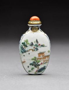 A Very Fine and Rare Enameled Porcelain Snuff Bottle