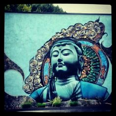 "Los Angeles home to random acts of fabulous... This ""Zen"" mural is featured along the side of a car wash in Hollywood."