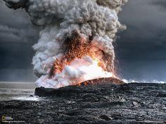 Volcanic lava meets ocean water.