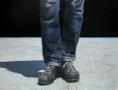"""François Bard, Campers, 2014, Oil on Canvas, 59"""" x 76¾"""" #Art #BDG #BDGNY #Contemporary #Painting #Sneakers #Jeans #Crop"""