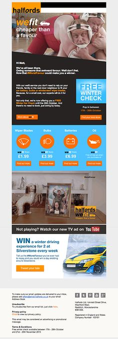 Halfords included a video of their latest TV ad in this email campaign. #emailmarketing #videoinemail #video