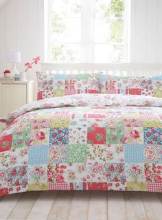 Colorful patchwork bedding