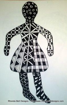 Zentangle Paper Doll